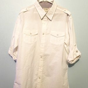 PD&C White Casual Shirt with Roll up Sleeves